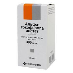 Альфа-токоферола ацетат, 300 мг/мл, раствор для приема внутрь в масле, 50 мл, 1 шт.