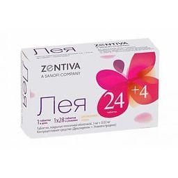 Лея, 3 мг+0.02 мг, набор таблеток, таблетки, покрытые пленочной оболочкой, 24 табл. активн.+4 табл. плацебо, 28 шт.