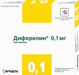Диферелин, 0.1 мг, лиофилизат для приготовления раствора для подкожного введения, в комплекте с растворителем, 7 шт.