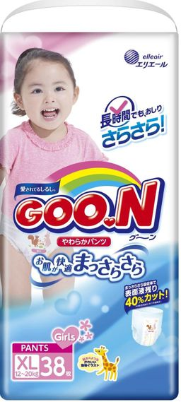 Подгузники-трусики детские GOON, 12-20 кг, XL, для девочек, 38 шт.