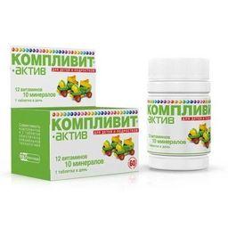 Компливит-Актив, таблетки, покрытые пленочной оболочкой, 60 шт.