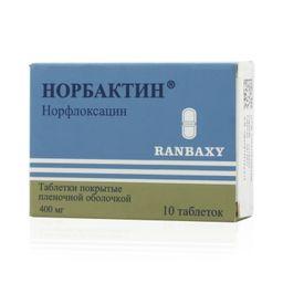 Норбактин, 400 мг, таблетки, покрытые пленочной оболочкой, 10 шт.