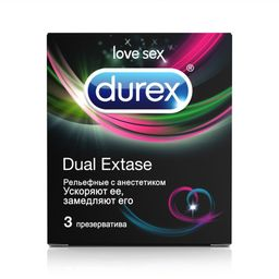 Презервативы Durex Dual Extase, презерватив, рельефные с анестетиком, 3 шт.