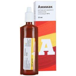 Аммиак, 10%, раствор для наружного применения и ингаляций, 25 мл, 1 шт.