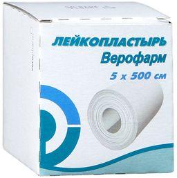 Лейкопластырь Верофарм, 5х500, пластырь медицинский, 1 шт.