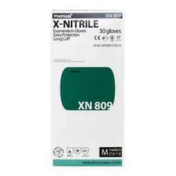 Перчатки смотровые нитриловые Manual XN 809 неопудренные, размер M, нестерильная (ые, ый), 100 шт.