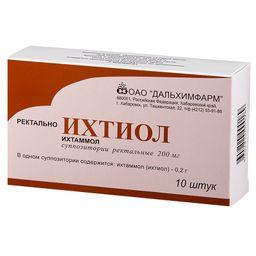 Ихтиол, 200 мг, суппозитории ректальные, 10 шт.