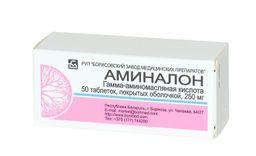 Аминалон, 250 мг, таблетки, покрытые оболочкой, 50 шт.