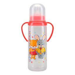 Курносики бутылочка с ручками и силиконовой соской 6 мес+, 250 мл, арт. 11005, с рисунком, в ассортименте, с силиконовой соской, 1 шт.