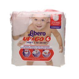 Подгузники-трусики детские Libero Up&Go, 13-20 кг., р. 6, 14 шт.