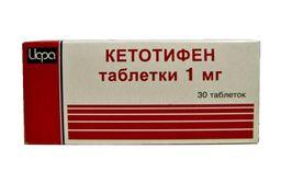 Кетотифен, 1 мг, таблетки, 30 шт.
