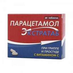 Парацетамол Экстратаб, 500 мг+150 мг, таблетки, 20 шт.