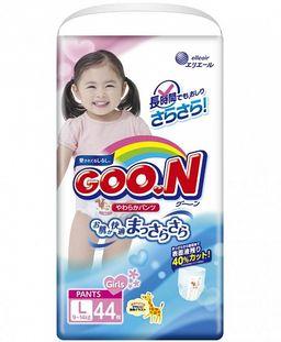 Подгузники-трусики детские GOON, 9-14 кг, р. L, для девочек, 44 шт.